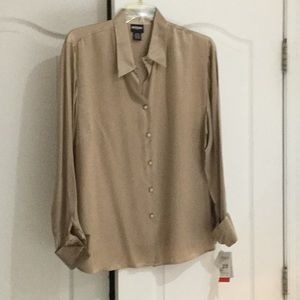 Golden taupe French cuff 💯 silk washable blouse2x